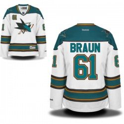 Justin Braun San Jose Sharks Reebok Women's Authentic Away Jersey (White)